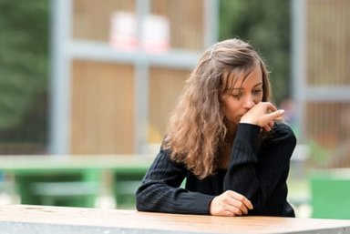 Stressed woman considering anxiety treatment at Morningside Recovery