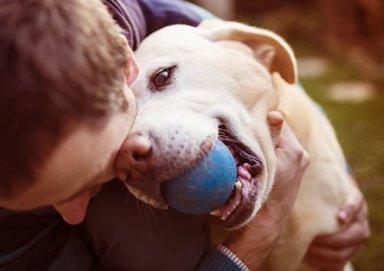 a young man enjoying pet friendly mental health facilities
