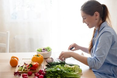 woman prepares foods to fight depression